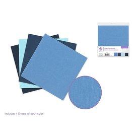 """Cardstock: 6""""x6"""" Textura Linen Packs x16 Asst A) Blue Medley"""