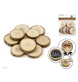 Craftwood: 2.5-4cmx0.8cm Natural Wood Trunk Slices x10