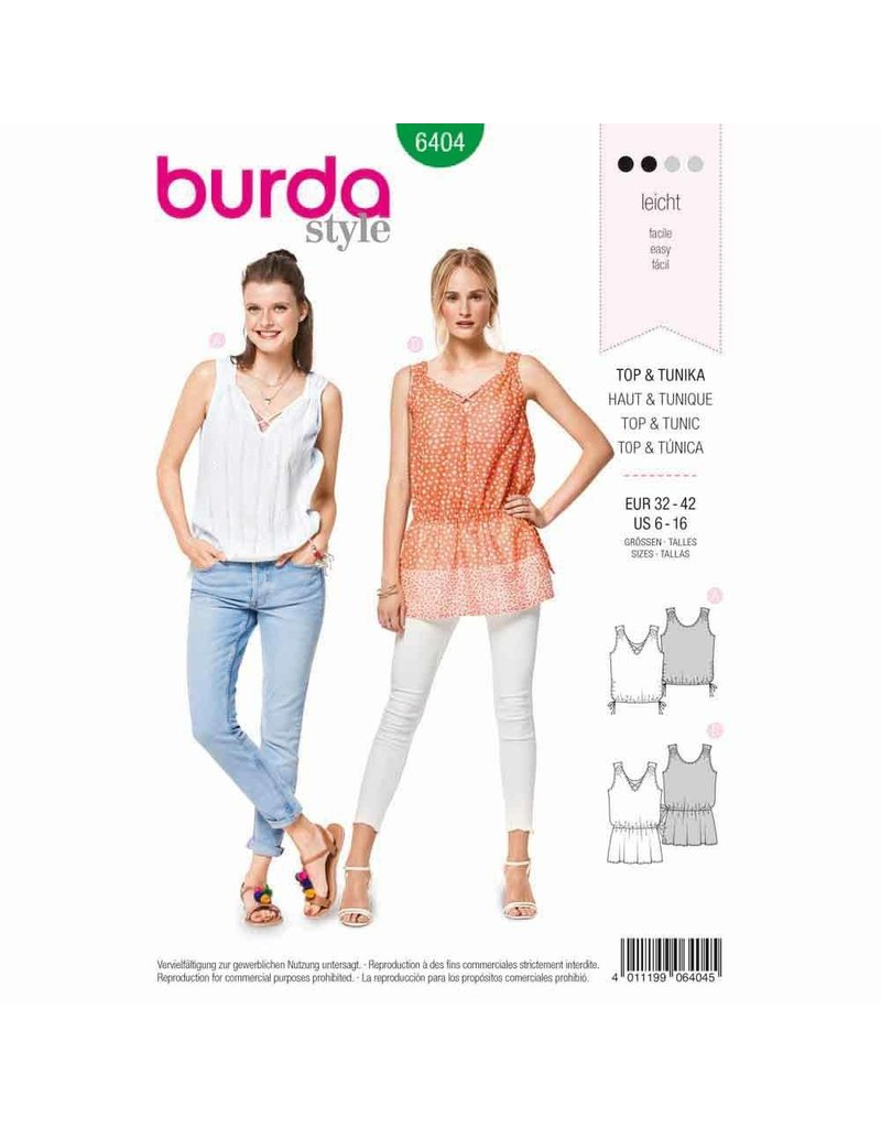 BURDA - 6404 Top - Tunic Top - Gathers - Drawstring Cord and Elastic Casing