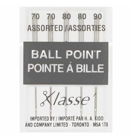 KLASSE´ Ball Point Needles Cassette - Assorted Sizes 70/10, 80/12, 90/14 - 5 count