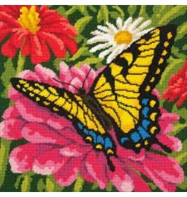 Dimensions Needlepoint - Butterfly and ZInnias