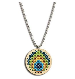 Dimensions Cross Stitch Necklace - Large Circle Peacock