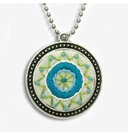 Dimensions Embroidery Necklace - Blue Circle Bezel