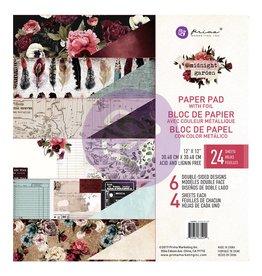 "Prima Midnight Garden Paper Pad 24 sheets 12""x12"""