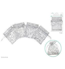 """MultiCraft 3""""x4"""" Organza Bags w/Shimmer x4 w/Ribbon String A) Swirl Sparkle Silver"""