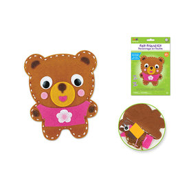 MultiCraft Krafty Kids Kit: DIY Felt Friends Sewing Kit w/Plastic Needle B) Teddy Bear