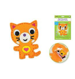 MultiCraft Krafty Kids Kit: DIY Felt Friends Sewing Kit w/Plastic Needle D) Cat