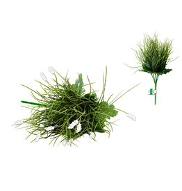 "Enchanted Garden Filler: 12.6"" Grass Bush x6 w/Baby's Breath Tips A) Sage Green"