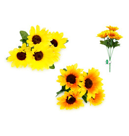 "Enchanted Garden: 11.8"" Sunflower Bush x5 Heads Asst 12eax2styles"