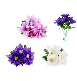 "Enchanted Garden: 11.8"" Clematis Bush x6 Heads Asst 3styles"