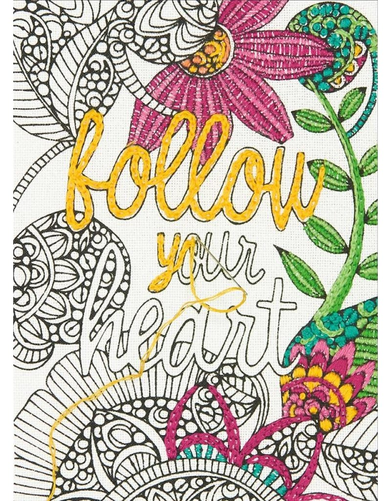 Dimensions Embroidery Coloring Kit - Follow Your Heart