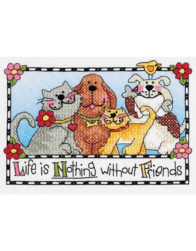Dimensions Stamped Cross Stitch Kit - Life is Nothing Without Friends