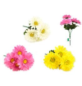 """Enchanted Garden: 11.8"""" Gerbera Daisy Bush x5 Heads Asst 3 Styles B) Bloom Asst"""