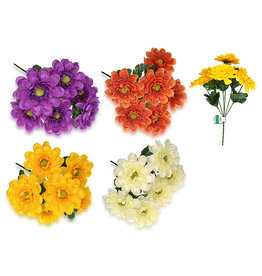 "Enchanted Garden: 11.5"" Zinnia Bush x6 Head w/Lvs Asst 3styles"
