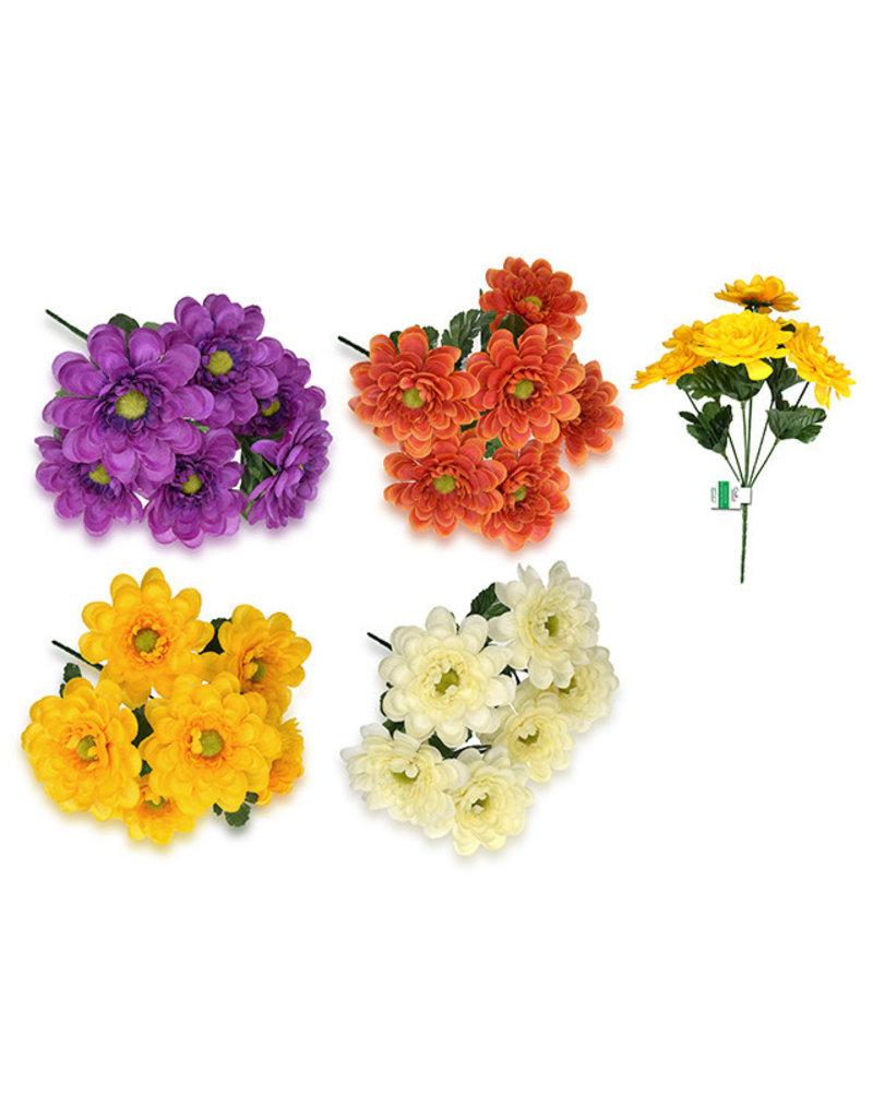 "Enchanted Garden: 11.5"" Zinnia Bush x6 Head w/Lvs Asst 3styles"