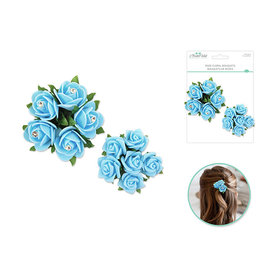 Foam Rose Floral Bouquets w/Gem 2pk -Light Blue