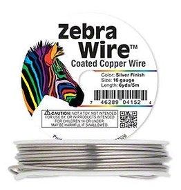 Zebra Wire, copper, silver color, round, 16 gauge. Sold per 6-yard spool.