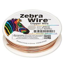 Zebra Wire, natural copper, round, 16 gauge. Sold per 6-yard spool.
