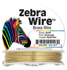 Zebra Wire, brass, gold color, round, 16 gauge. Sold per 6-yard spool.