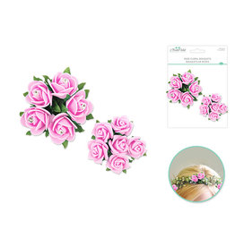 Foam Rose Floral Bouquets w/Gem 2pk - Soft Pink
