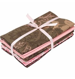 "Fabric Bundle (5pcs) - Pink & Brown - 45 x 53cm (18"" x 21"")"