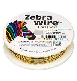 Zebra Wire, brass, gold color, 22 gauge. Sold per 10-yard spool.