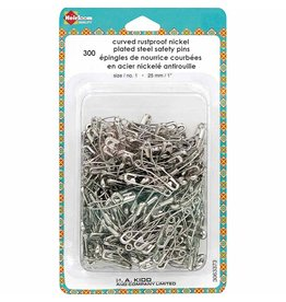 """HEIRLOOM Curved Safety Pins - 25mm (1"""") Size 1 - 300pcs"""