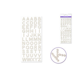 9cmx20.5cm Pearl Letters 15mm Fonts x55pc -Pearl