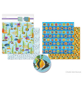 """12""""x12"""" Glitter Embossed Cardstock Double-Sided -Sea Life"""