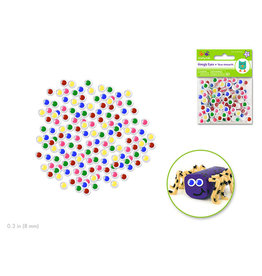 Paste-On Googly Eyes: Round 8mm 150/pk -Asst Colors