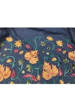 Denim Embroidered bottom Floral and Leaves  price per inch
