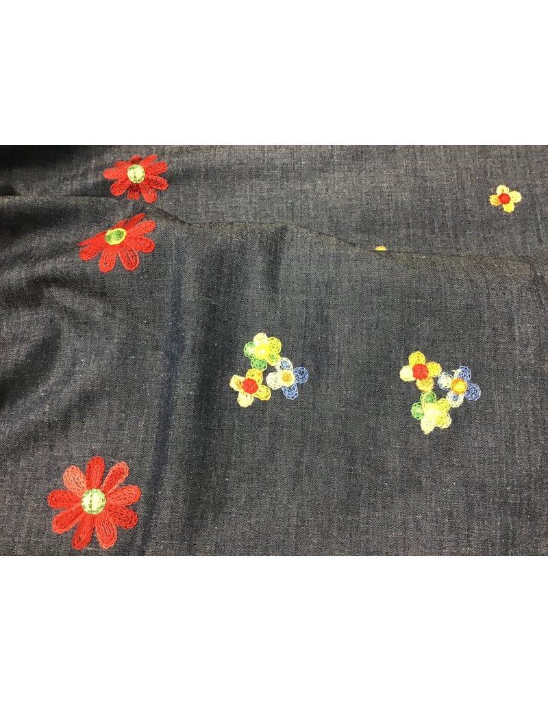 Denim Embroidered Floral  price per inch