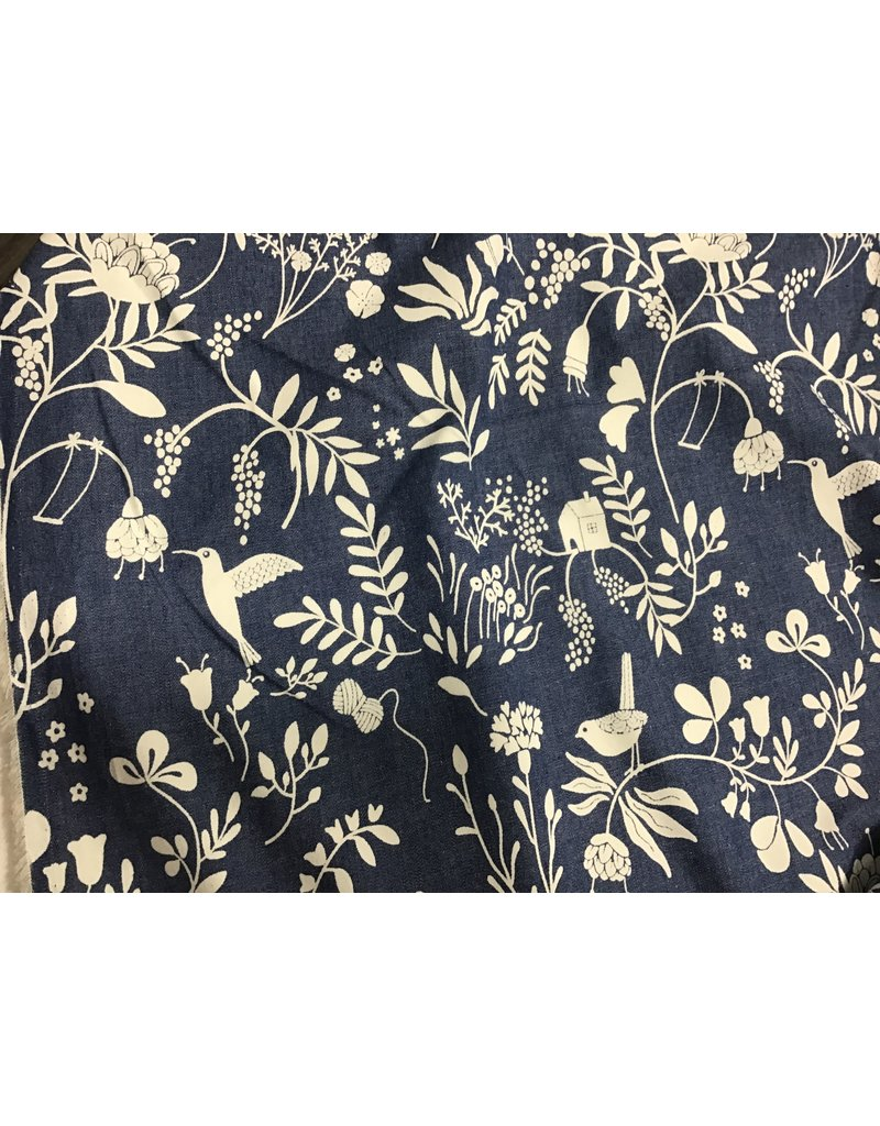 Denim Print Birds and Flowers price per inch