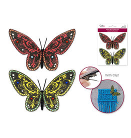 "3.88"" Mini Butterflies x2 w/Gems & Clip -Red/Yellow"