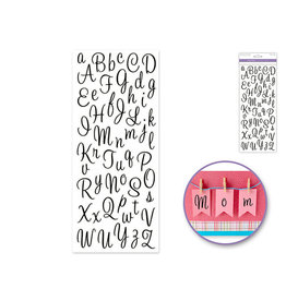 """5""""x12"""" Letters & Numbers Medley Clear -Letters Black Cursive"""
