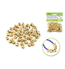 Wood Beads: 10mm Letter Beads- Natural