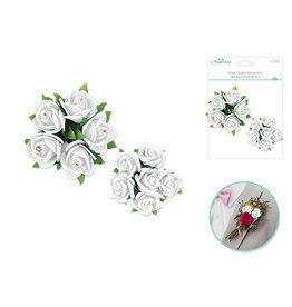 Foam Rose Floral Bouquets w/Gem 2pk - White