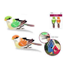 "2.25"" Mini Bird x2 w/Clip - Green/Orange"