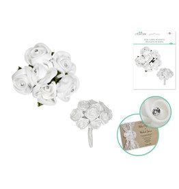 Rose Floral Bouquets w/Gem 2pk - White