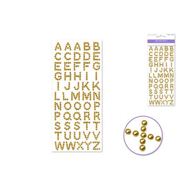 9cmx20.5cm Pearl Letters 15mm Fonts x55pc -Gold