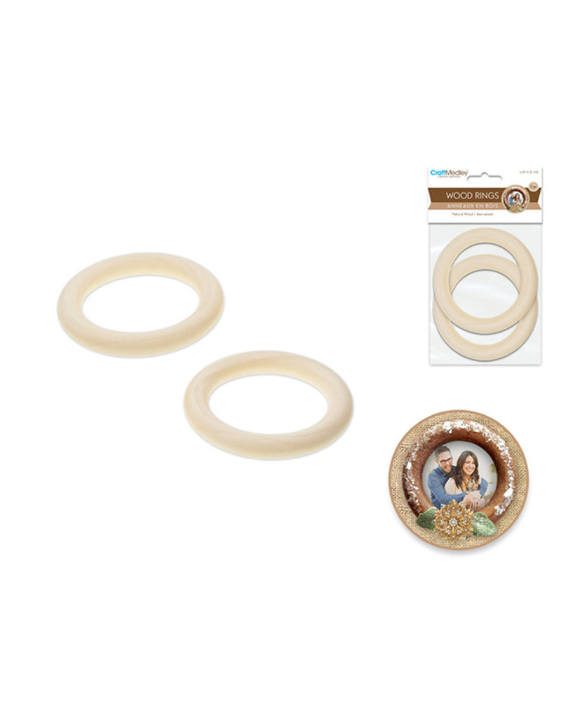 Craftwood: 70mm Craft Rings x2 Natural