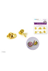 MultiCraft Jewelry Findings: Pin Back/Pin Set 6 Sets/pk A) Gold