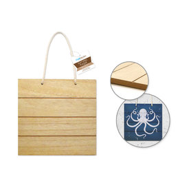 """MultiCraft Wood Decor: 7.75"""" DIY Slat-Wall Hanger Plaques w/ Nautical Rope A) Square"""