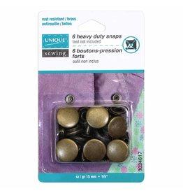 UNIQUE SEWING Heavy Duty Snaps Antique Brass - 15mm (5⁄8″) - 6 sets