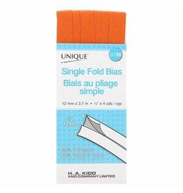 UNIQUE Single Fold Bias Tape 13mm x 3.7m - Orange