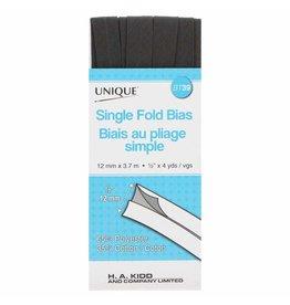 UNIQUE Single Fold Bias Tape 13mm x 3.7m - Dark Grey