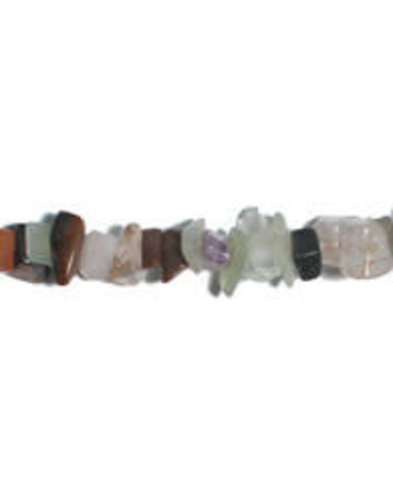"MIX LT.GEMSTONE COLORS 6-8MM CHIPS 16"" SEMI-PRECIOUS"