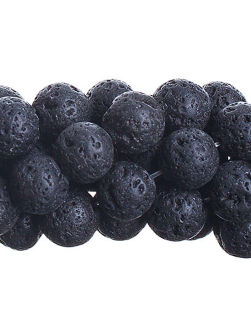 Semi-Precious 16in 8mm Black Lava Natural