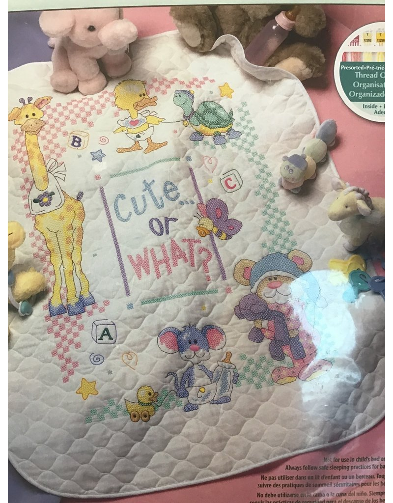 "Dimensions Cross Stitch Kit 43""X34"" Cute... or What? Baby Quilt"