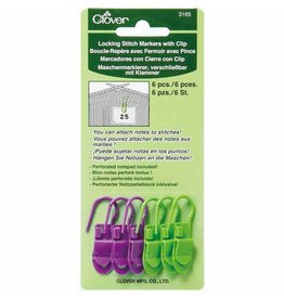 Clover Clover Locking Stitch Markers with Clip - 6pc